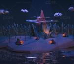 卡通 Lowpoly 夜晚 小部落 模型 海岛 广告 栏包 装饰 c4d