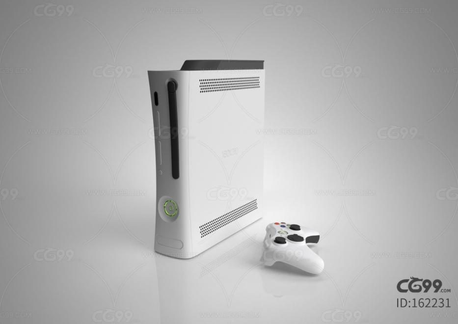 白色简约游戏机C4D模型