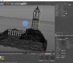 海岛 瞭望塔 卡通 模型 C4D q版 装饰 广告 元素 海洋