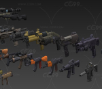 写实手绘枪 模型合集