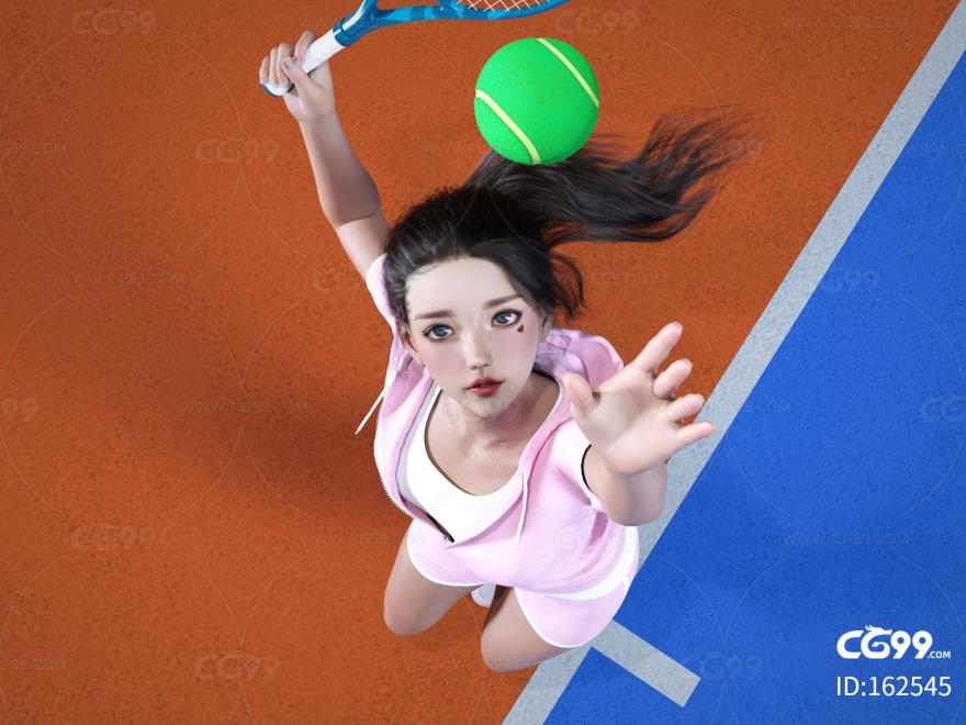 网球人物 打完球的人 美女