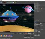 宇宙飞船 C4D模型 飞行器 星球 卡通 太空 Q版 lowpoly