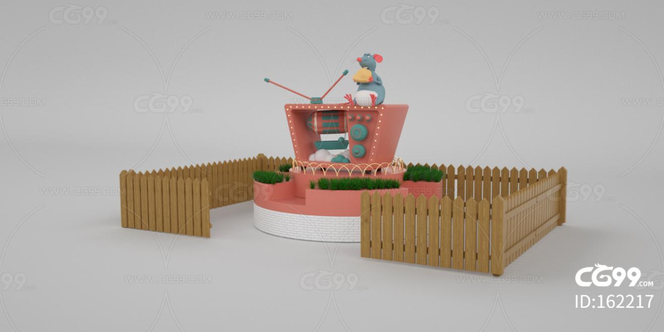 卡通 老鼠 美食 电视 导弹 创意 广告 天线 美陈 DP