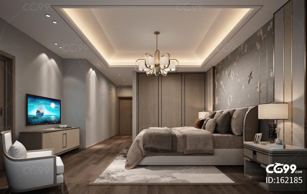 新中式别墅卧室