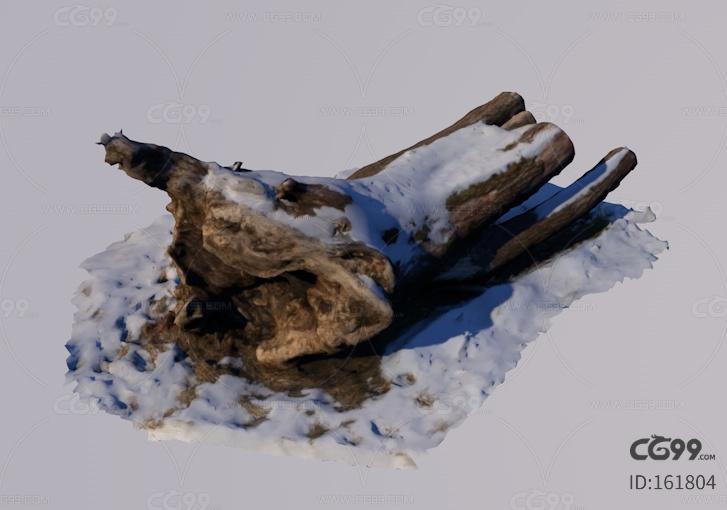 冬季雪地场景部件枯树,积雪树木 老树。空心树。树洞。老树 树干 枯树 冰雪树 雪树 雪地