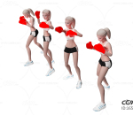 卡通女 女拳击手 搏击运动员 女拳手 女孩 武术 练家子 散打 拳击