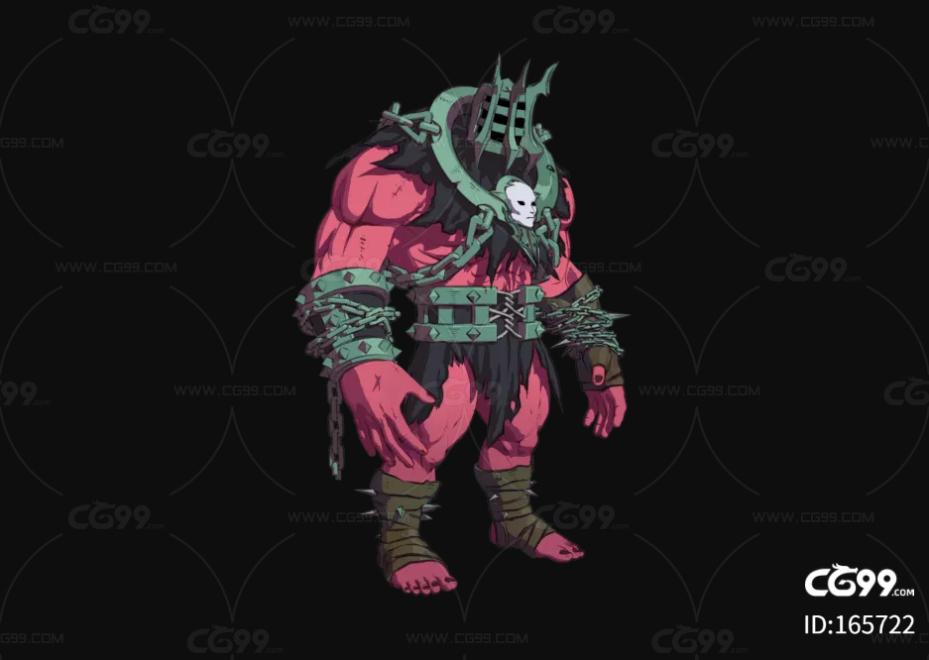 三渲二 卡通渲染 肌肉怪物 暗黑生物 肌肉盔甲人 二次元