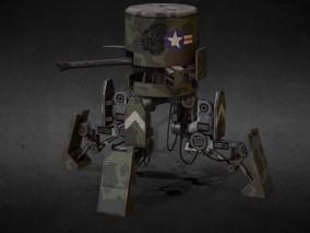 次世代 迷彩军事机器人 游戏角色 pbr带贴图 3d模型