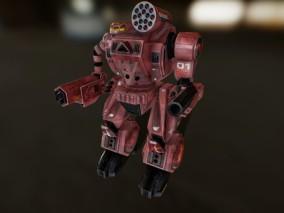 次世代 红色加特林机器人 游戏角色 pbr带贴图 3d模型