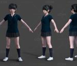 写实中学生 女同学 小美女 可爱小萝莉 女学生服装 中国少女角色模型