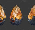 黄水晶 钻石 魔晶 晶石 物件 部件 场景低模 手绘道具模型