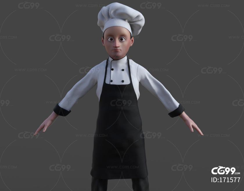 卡通 厨师 糕点师 围裙 掌勺 大厨 职业男性