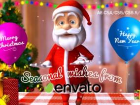 视频片头模板 卡通 圣诞 节日风格