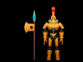 西幻 角色人物 橙甲斧兵  3d模型