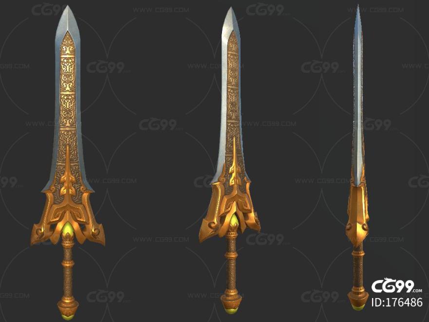 次世代 PBR 冷兵器 轩辕剑 武器 法器 兵器 大剑 长剑 玄幻 低模