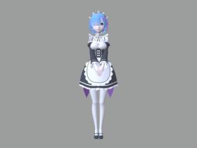 魔幻 时尚 Rezero 角色带动作 女仆装蕾姆 3d模型