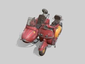 老式三蹦子摩托车