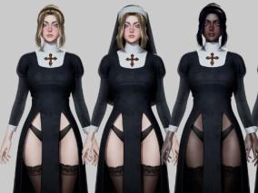 次时代PBR性感教堂修女CG模型