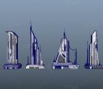 科幻建筑 科幻高楼 未来城市 未来世界 科幻城市 模型组合