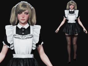 次时代PBR欧美性感女仆CG模型