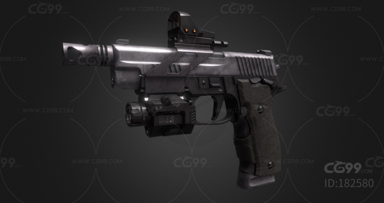次世代武器 热兵器 红外线自动手枪  3d模型