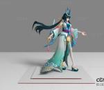 现代游戏角色 绿衣美女 3d模型