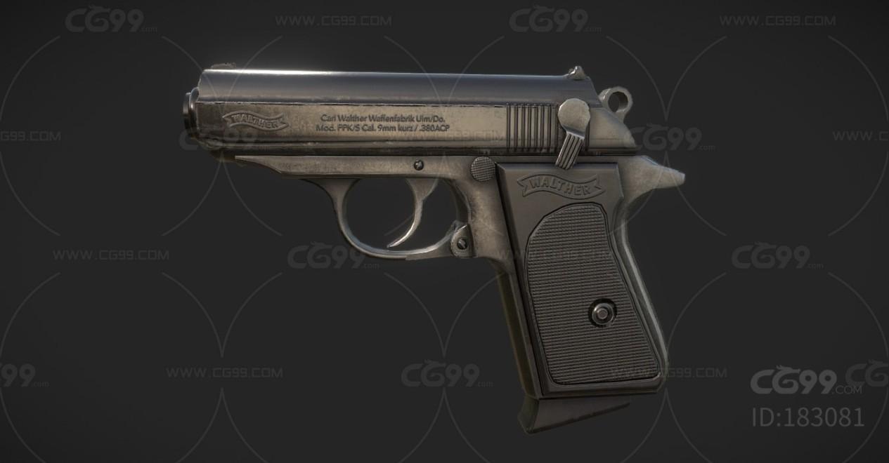 次世代武器 热兵器 PPK警用小手枪  3d模型