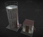 水箱 冷却塔 油气水 分离器 工厂 阀门 管道 涡轮 泵 3d模型