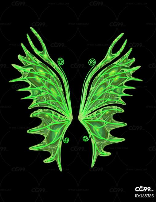 绿色时尚魔幻风格 简约翅膀