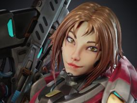 次时代PBR赛博未来YUI狙击手女战士CG模型