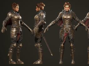 次时代PBR哨兵女骑士CG模型