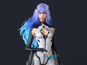 国人3D艺术家 huifeng huang 科幻女战士角色