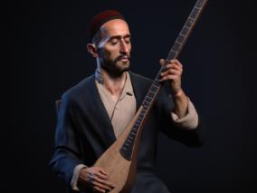 《维吾尔木卡姆的歌手》来自国外NurshatCG设计师~次时代 写实 油画角色
