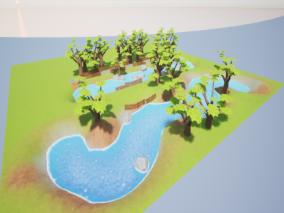 可爱卡通小岛UE4模型