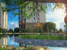 园区水景大树max模型
