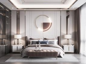 现代轻奢卧室max模型
