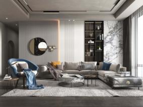 现代轻奢风格客厅max模型