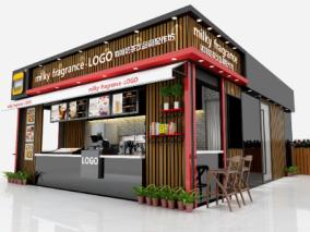 现代咖啡奶茶店3d模型