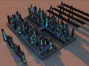 超酷未来科幻赛博朋克建筑3d模型