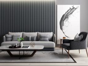 现代简约家具摆件组合3d模型