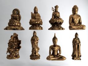 现代佛像雕塑组合