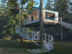 现代森林树屋3d模型