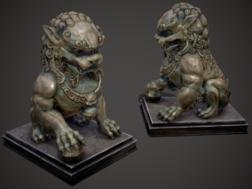 门口石狮 铜狮 超写实 中华门狮 园林石狮 狮子雕塑 青铜狮