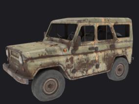 吃鸡游戏车辆  破旧吉普车   破旧越野车  生锈车辆