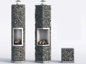 现代石头壁炉摆件组合