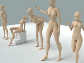 基础人物动作 人体雕塑 3D模型