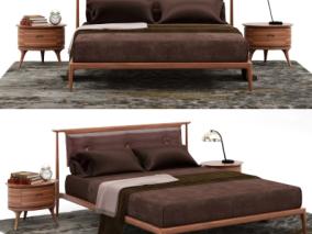 精致家私 现代实木双人床 床头柜 台灯组合