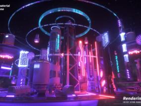 C4D赛博朋克风格宇宙悬浮科幻城市场景