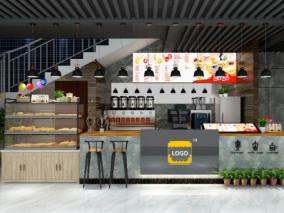 现代咖啡奶茶店3D模型下载,奶茶店3D模型下载,咖啡,奶茶