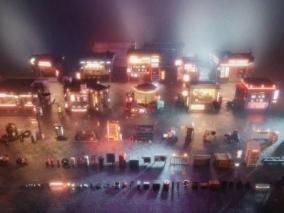 赛博朋克未来科幻街道楼房3D模型